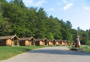 campground site with cabins