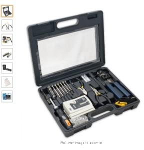 50 piece computer networking installation tool kit with multi module cable tester